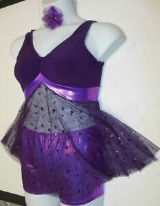 Vintage Young Girls Ballet Theater Costume Yellow Lavender Romper Cape Collar Metal Sequins Z23