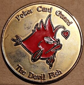 DEVILFISH POKER Dave Ulliott Poker Card Guard Devil Fish Chip Metall RARE RAR
