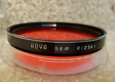 Vintage Hoya 58mm R 25A Screw In Red Lens Filter with case Made in Japan