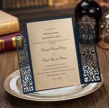 100x Printable Navy Blue Laser Cut Invitations Cards For Wedding Party Birthday