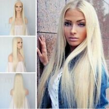 "US 24"" Lace Front Wig Synthetic Bleach Blonde #0809 Straight Heat Safe Full Wig"