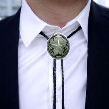 Vintage Silver Western Star Oval Cowboy Rodeo Bolo Tie Ancient Necktie Necklace
