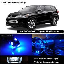 10PCS Blue Interior LED Bulbs for 2008-2017 Toyota Highlander White for License