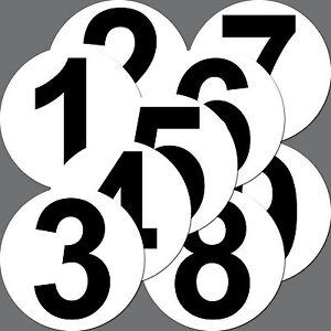 9 Stück Aufkleber Sticker 10cm Nummer Ziffer Zahl Mülleimer Kellertür Garagentor