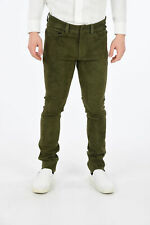 DROME men Trousers Green Suede Leather Stretch Pants Size M Five Pockets Skin...