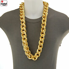 "Rapper Hip Hop 14K Gold Plated Hollow Chunk Alloy Rope Chain 36"" Necklace ALM001"