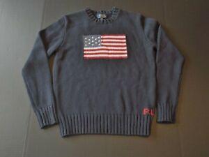 Boys' Polo Ralph Lauren Big American Flag USA Logo Blue Sweater sz L 14-16