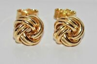 9ct Yellow Gold on Silver Celtic Love Knot Ladies Stud Earrings ~