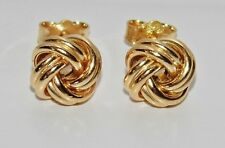 9ct Yellow Gold on Silver Celtic Love Knot Ladies Stud Earrings - 8mm x 8mm