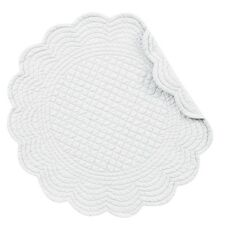 """Set of 4 PCS Quilted,17"""" Round Placemats, White,862601549W"""