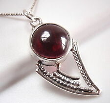 Garnet Tribal Style Pendant 925 Sterling Silver Imported from India New