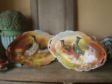 HUGE PAIR FRENCH PORCELAIN LIMOGES DISH HUNTING FAISANS WOODCOCKS Ca 1940 signed