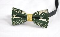 KIDS BOYS Baby Cotton Xmas Christmas Elk Deer Green Bow Tie Bowtie 1-6 Years Old