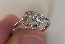VERY BEAUTIFUL REAL MINED NATURAL GENUINE DIAMOND RING STERLING SILVER SETTING