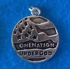 Pendant One Nation Under God Charm Flag Pendant Tibetan Silver USA Charm