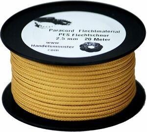20m Paracord Flechtschnur 2,5mm goldbraun / unifarbig / multicolor zum Flechten