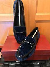 NIB Donald  Pliner Filo Crushed Velvet Driver Loafer Shoe Navy Blue 8.5