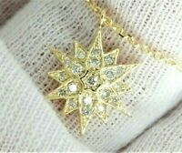 """14K Solid Yellow Gold Natural SI Diamond Pave Cluster Star Starburst Necklace17"""""""