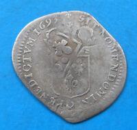 Louis XIV quinzain aux 8 L 15 deniers 1693 A Paris surfrappé sur ancien flan