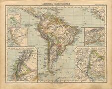 Carta geografica antica AMERICA MERIDIONALE SUDAMERICA 1897 Old antique map