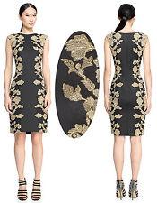 $448 Tadashi Shoji Kami Embroidered Lace Panel Black & Gold Dress 10 NWT