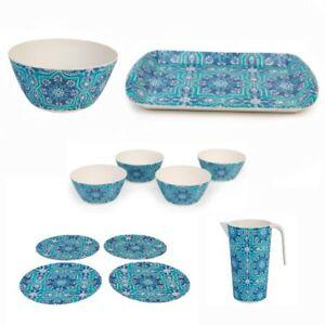 Cambridge St Tropez Round Bamboo Kitchen Set Plates Bowls Jug Tray