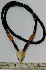 Thai Amulet Necklace Natural Coconut Shell Beads & Carved Bone Elephant Head 23""