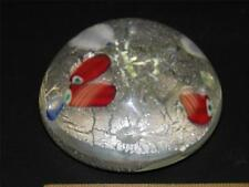 VINTAGE MURANO ART GLASS SILVER DUST RED & BLUE PAPERWEIGHT ORIGINAL LABEL