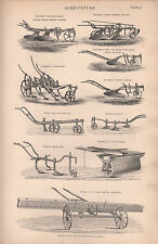 1874 PRINT ~ AGRICULTURE ~ PLOUGH SOWING MACHINE HORSE HOE CULTIVATOR FURROW etc