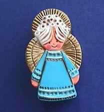 BUY1&GET1@50%~Hallmark PIN Christmas Rare ANGEL Blue Gown Vtg 70s Holiday Brooch