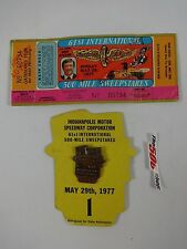 1977 Indianapolis 500 Bronze Pit Badge & Ticket Tom Soyrs Timing and Scoring