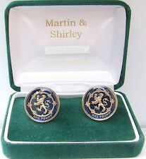 Scotland Lion cufflinks real £1 coins in Blue & Gold