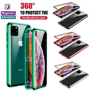 For iPhone 11 12 Pro MAX Full Body Magnetic Case Cover Front Back Tempered Glass