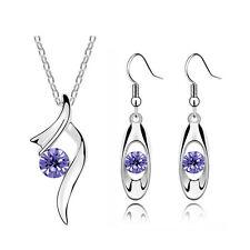 Diamante Purple  Ribbon Crystal Bridal Jewellery Set Drop Earrings Necklace S945
