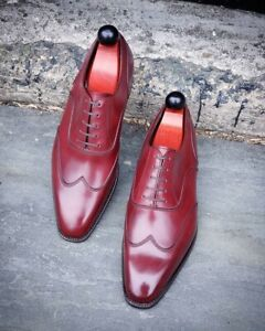 Handmade Men's Burgundy Wing Tip Leather Dress/Formal Oxford Shoes