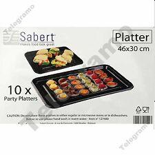10 Sabert 46x30cm Plastic Food / Sandwich Party Platter Large Serving Trays