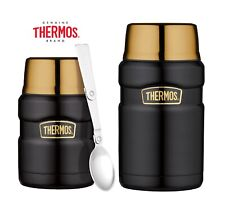 Thermos King Flask Vacuum Insulated Food Flask 470ml/710ml Black & Gold