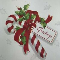 Vintage Mid Century Christmas Greeting Card Striped Candy Cane Red Ribbon Holly
