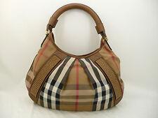 Burberry Brown Leather and Nova Check Canvas Studded Medium Hobo Bag Purse