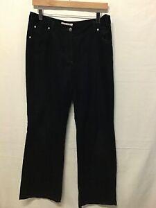 Laura Ashley Ladies Bootcut Black Cotton Cord Trousers Jeans. Size 12 (.003)