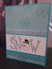 """DIY Stampin Up """"Let It Snow"""" Snowman Snowflake Glitter Handmade Card Kit 4 cards"""