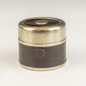 Antique Black Leather Covered - Silver Plated Pocket Travel Inkwell Ink Bottle