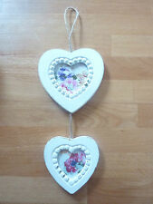New Shabby Chic White Hanging 2 Two Love Heart Photo picture frame Gift Wedding