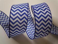 """5yd 2.5"""" Royal Blue Chevron Burlap Wired Ribbon Wedding Shower Wreath Gifts"""