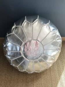 Round Silver Moroccan Pouf, Ottoman Pouf