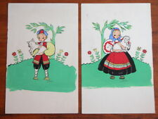 Rare Vtg 40s Swedish Folk Art Painting by Dorothy Dix Hollywood CA Americana #F