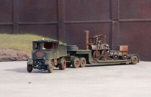 OO gauge 'Locomotion' on a low loader, heavily rusted and weathered