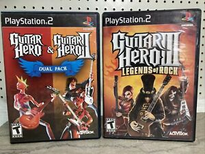 Lot of 3 Guitar Hero 1 2 3 Trilogy PS2 Sony PlayStation 2 Games Dual Bundle GH3