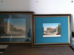 2 - Hand Coloured Carocci & Grassi  Etchings Vintage framed See Description