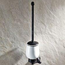 Black Oil Brass Toilet Brush Set Holder Brush + Ceramic Cup Wall Mount qba448